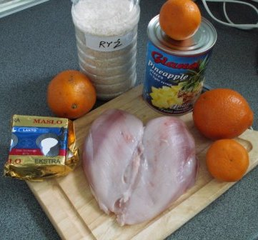 Kurczak z ananasem i mandarynkami