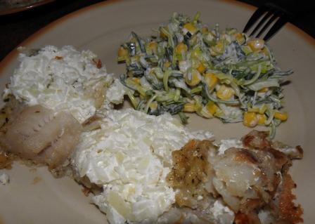 ryba z sosem czosnkowym