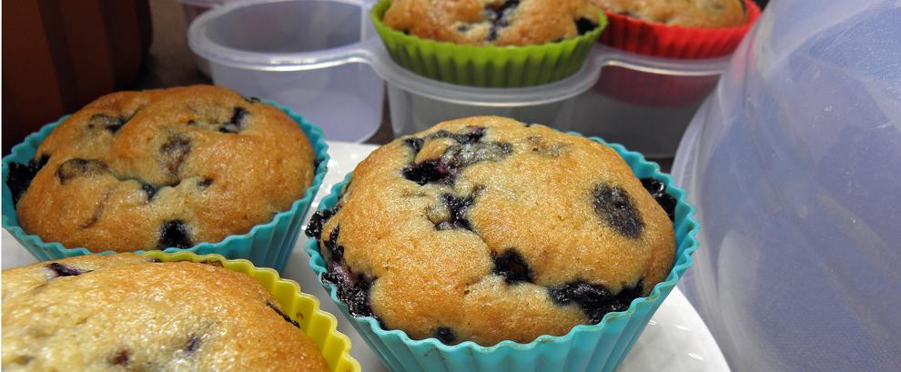 Muffiny waniliowe z jagodami